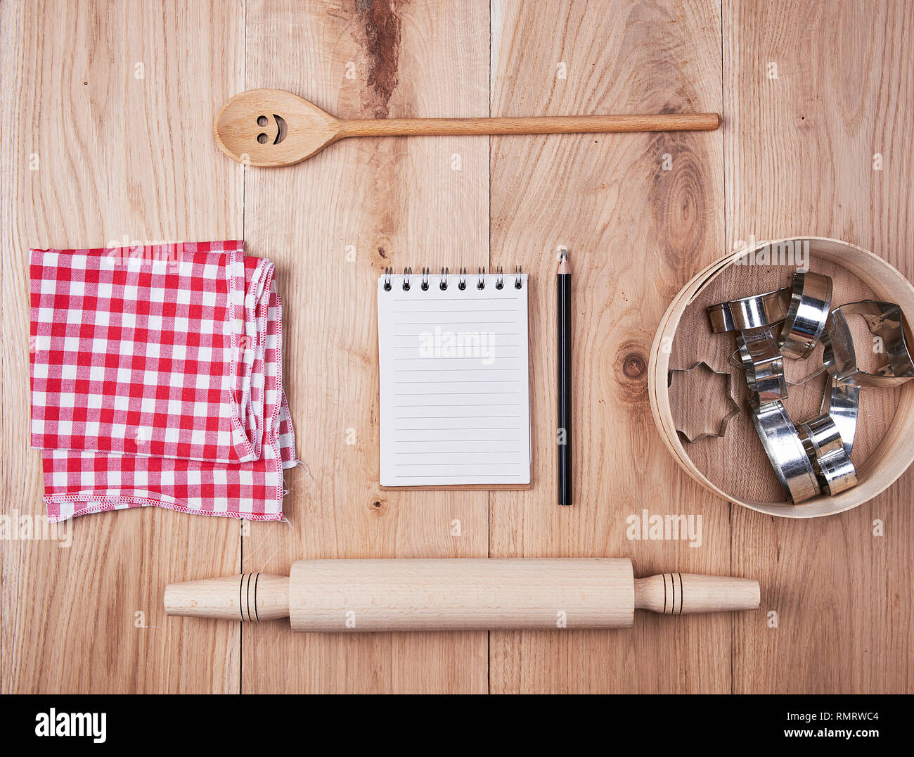 Blank Open Notebook In Line And Wooden Kitchen Accessories Recipe Concept Stock Photo Alamy