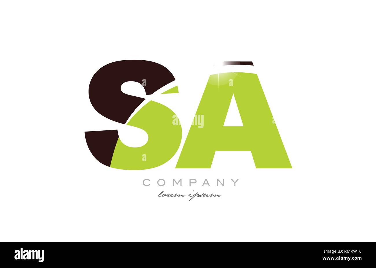 letter sa s a alphabet combination logo icon design with green and brown color suitable for a company or business - Stock Vector