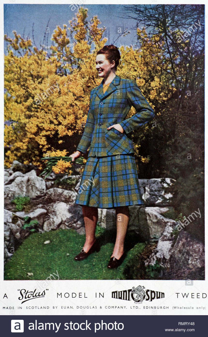 MunroSpun Tweed Clothing vintage advertising 1948 - Stock Image
