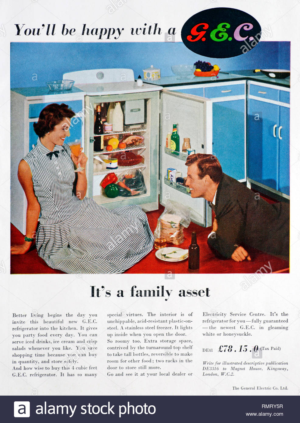 GEC Fridge vintage advertising 1956 - Stock Image