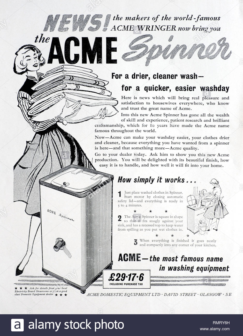 ACME Spinner vintage advertising 1959 - Stock Image