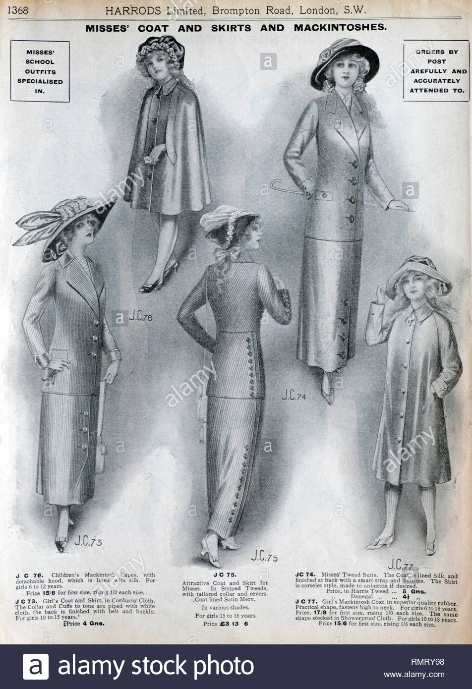 Harrods Clothing vintage advertising 1913 - Stock Image