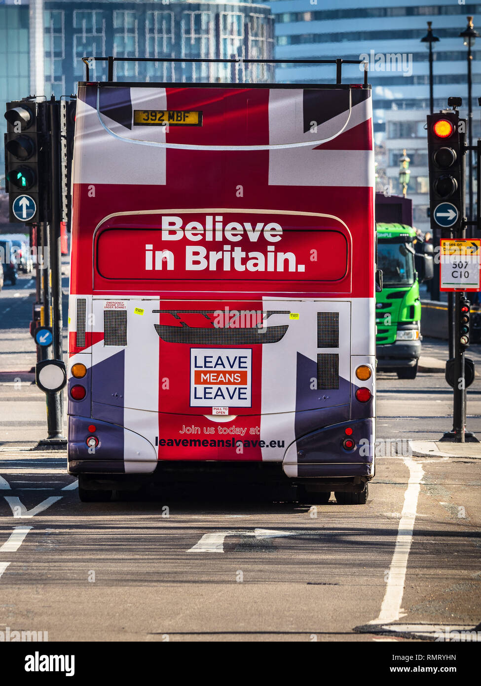 Brexit Leave Bus - Leave Campaign Believe in Britain Bus in central London near the Houses of Parliament - Stock Image