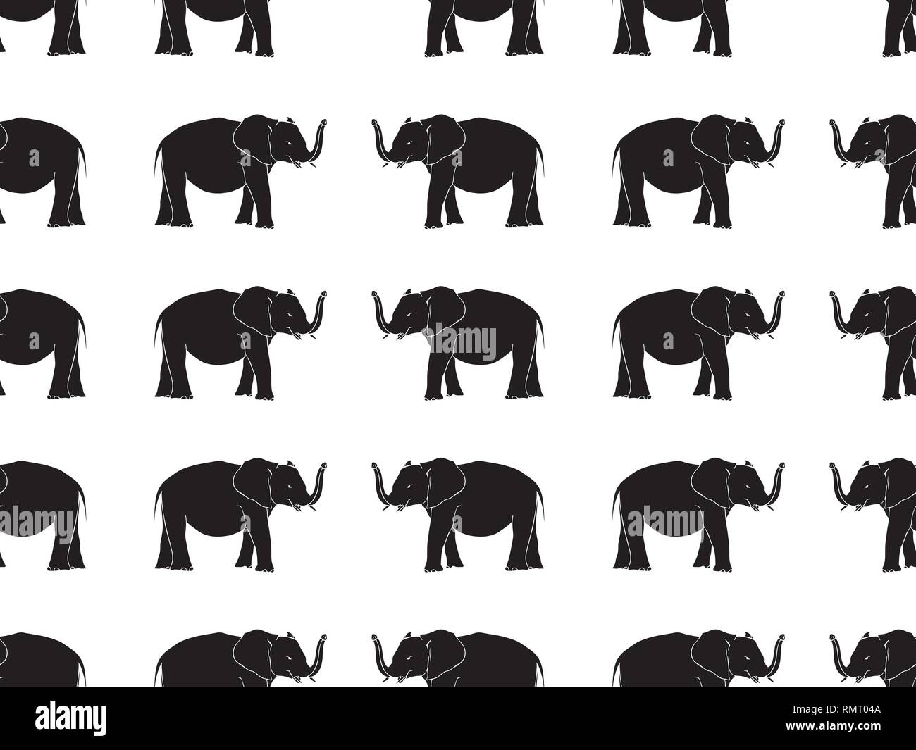 Seamless pattern with hand drawn elephant silhouettes vector illustration. Black on White background. - Stock Image