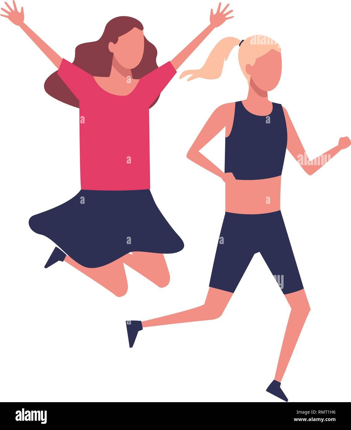 faceless girls sports excercise - Stock Image