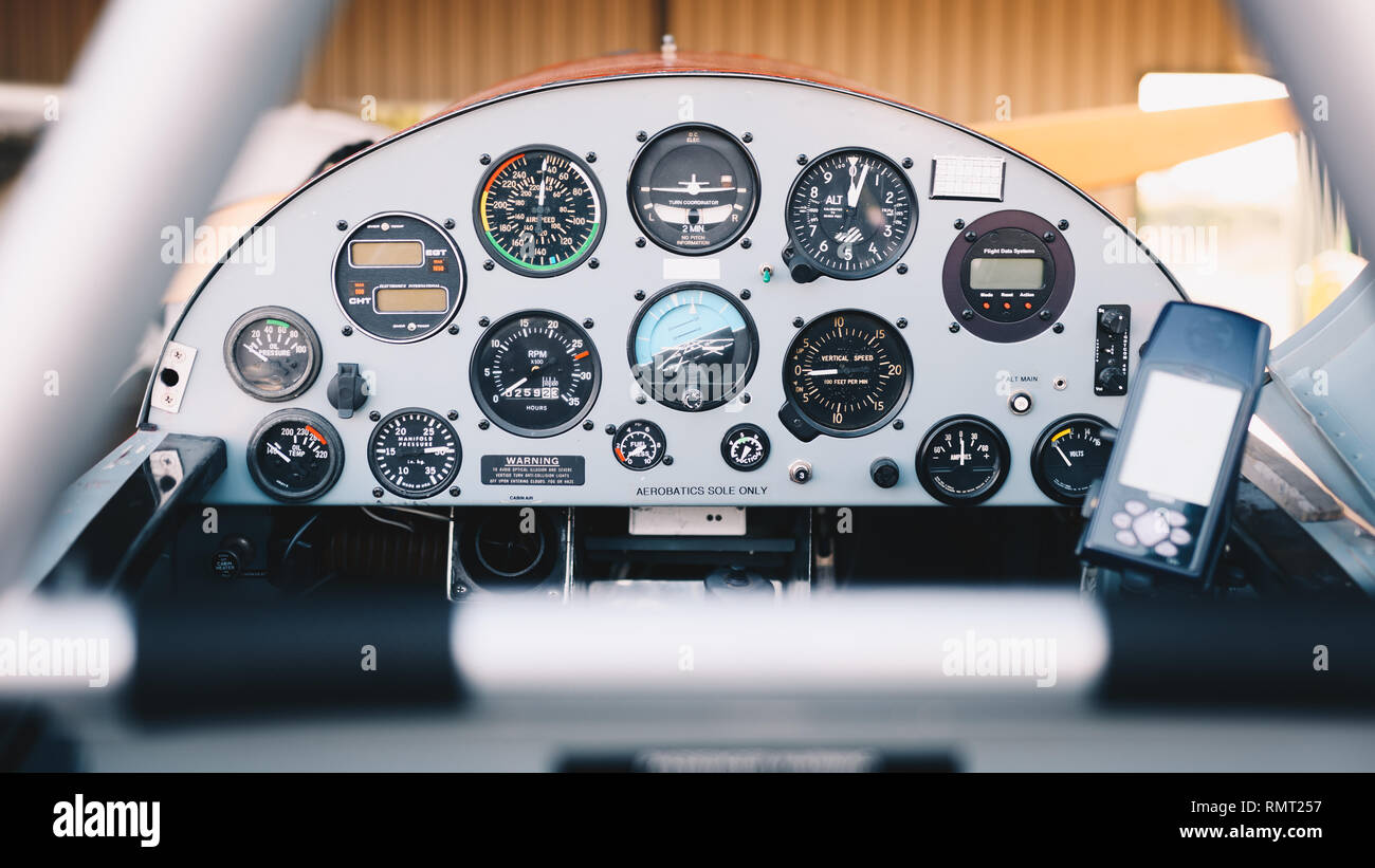 cockpit detail. Cockpit of a small aircraft - Stock Image