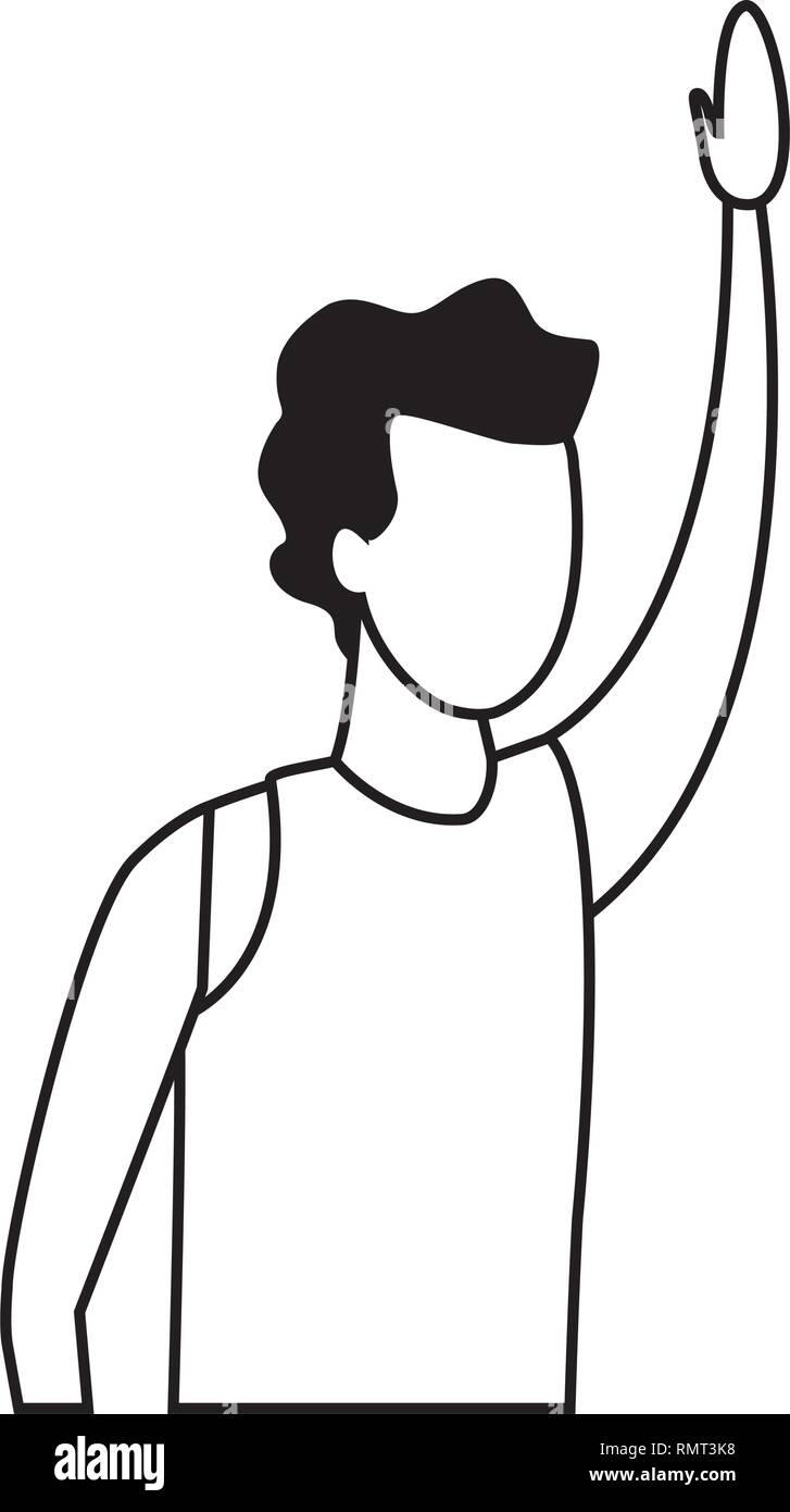 faceless-guy-raising-hand-portrait-black-and-white-RMT3K8 Get Inspired For Vector Art Portrait Black And White @koolgadgetz.com.info