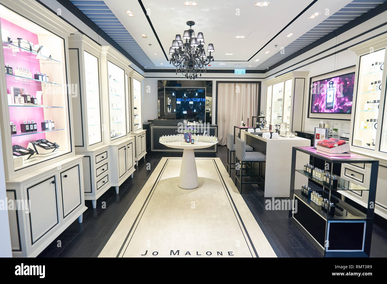 HONG KONG - CIRCA JANUARY, 2016: interior of Jo Malone store in Hong Kong. Jo Malone London is known for its expensive perfumes, luxury candles, bath  - Stock Image