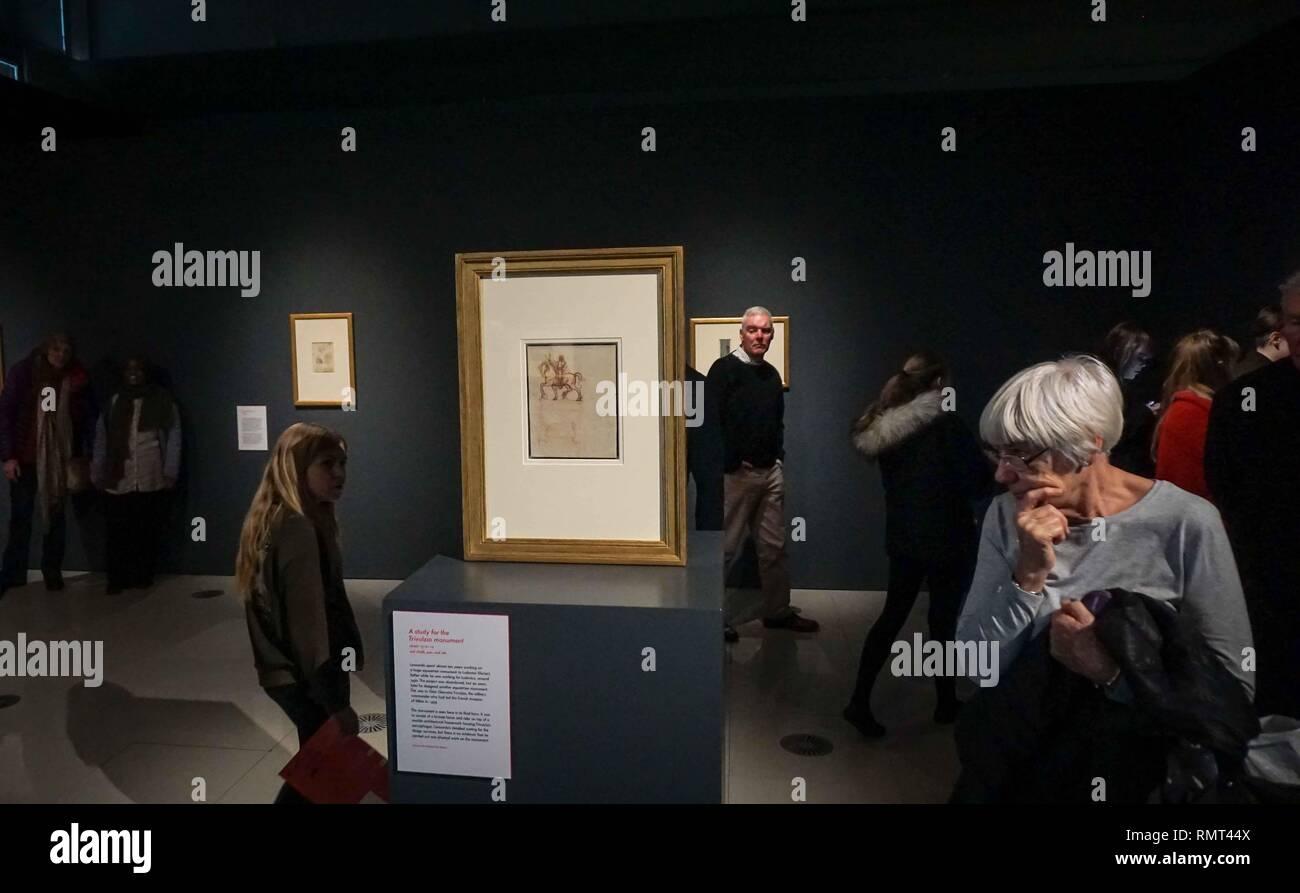 Leonardo D Exhibition : Visitors attending an exhibition of twelve drawings by leonardo da