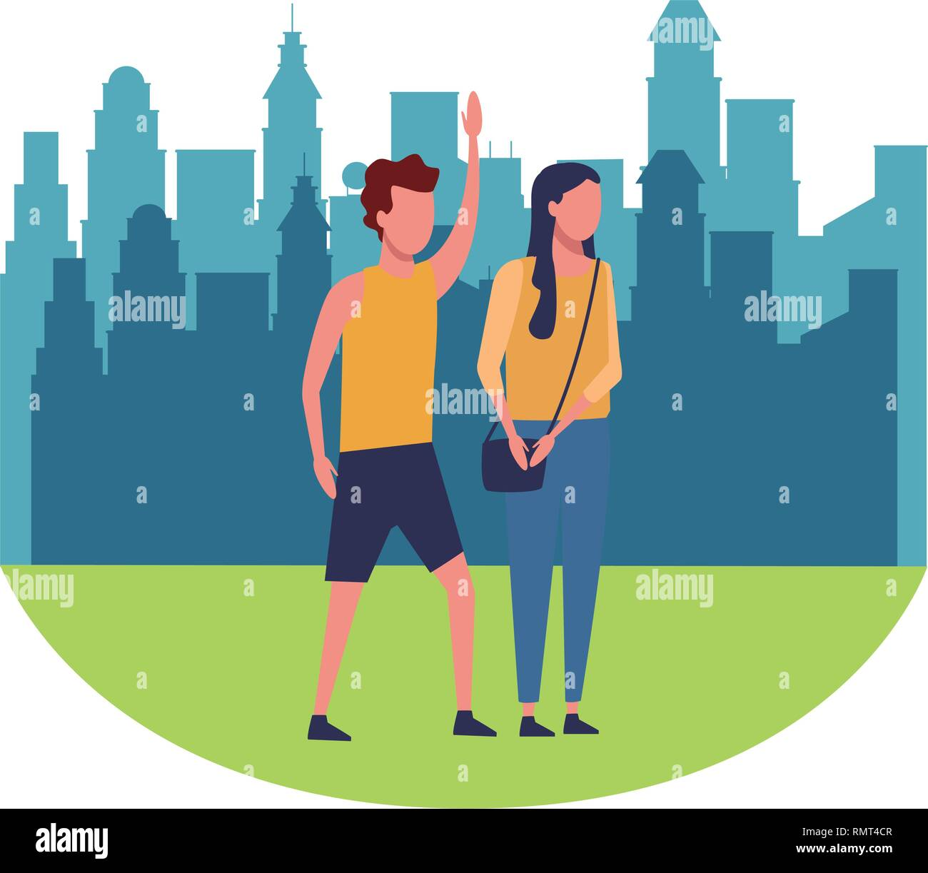Friends in the city park round icon - Stock Vector