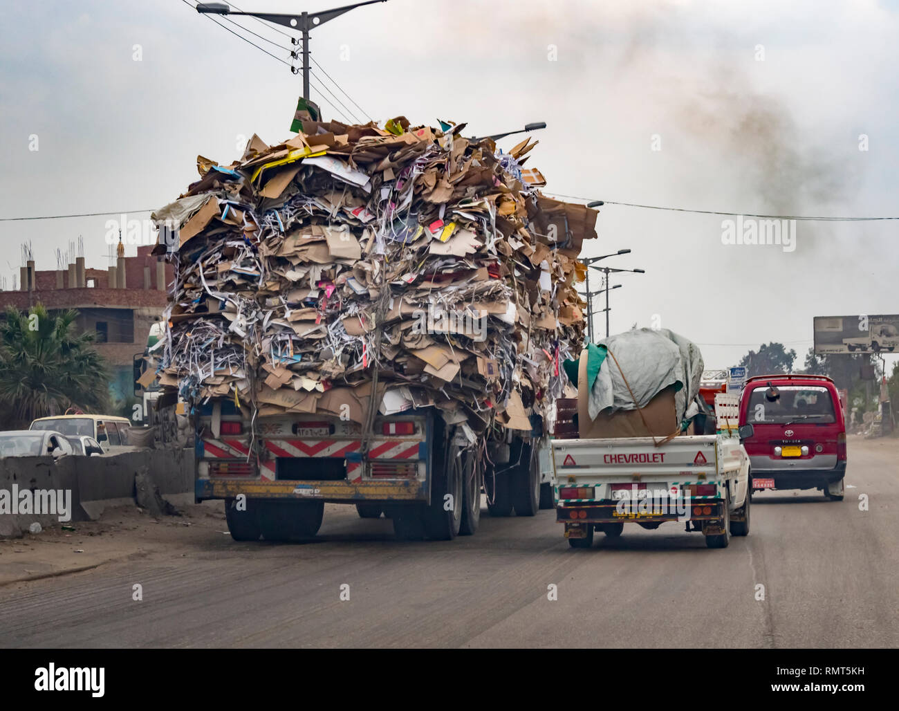 Kafr-El-Sheikh, Egypt - 13 March 2014: A Truck loaded with garbage heading for landfill site in Egypt. - Stock Image