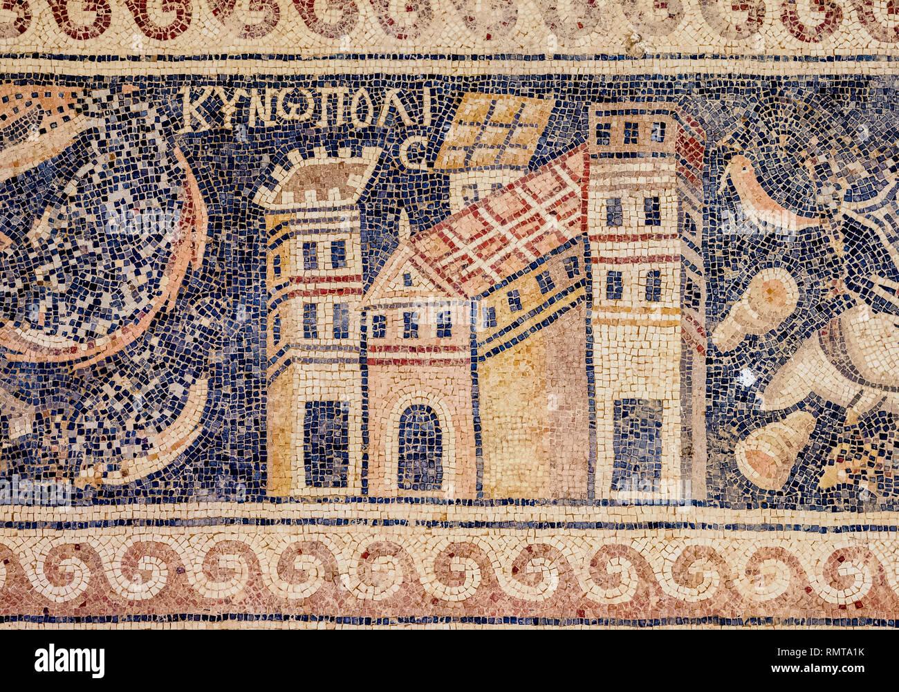 Mosaic Floor in Umm ar-Rasas, Amman Governorate, Jordan Stock Photo