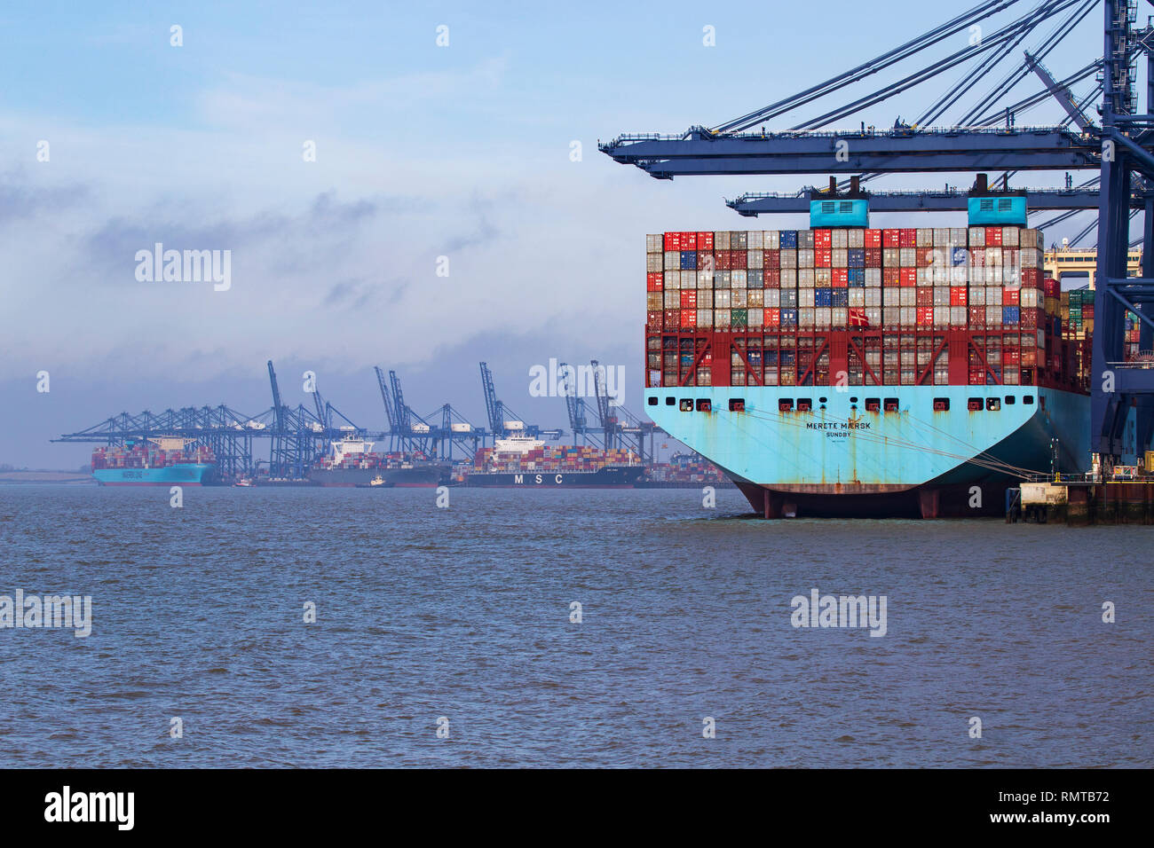 Large Ocean Going Maersk Shipping Container Ship Docked at Port of Felixstowe - Stock Image