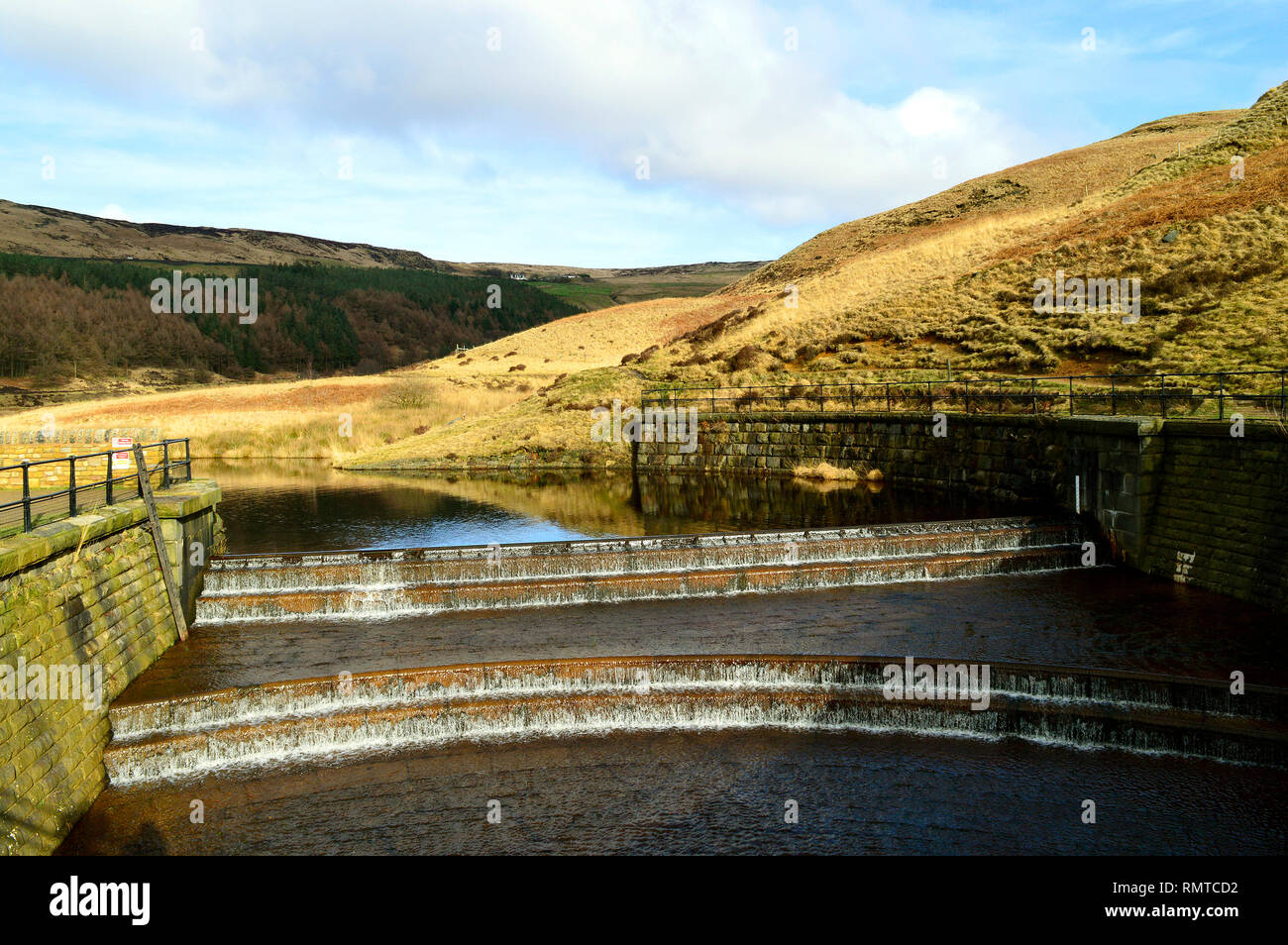 The overflow weir on Yeoman Hey Reservoir. - Stock Image