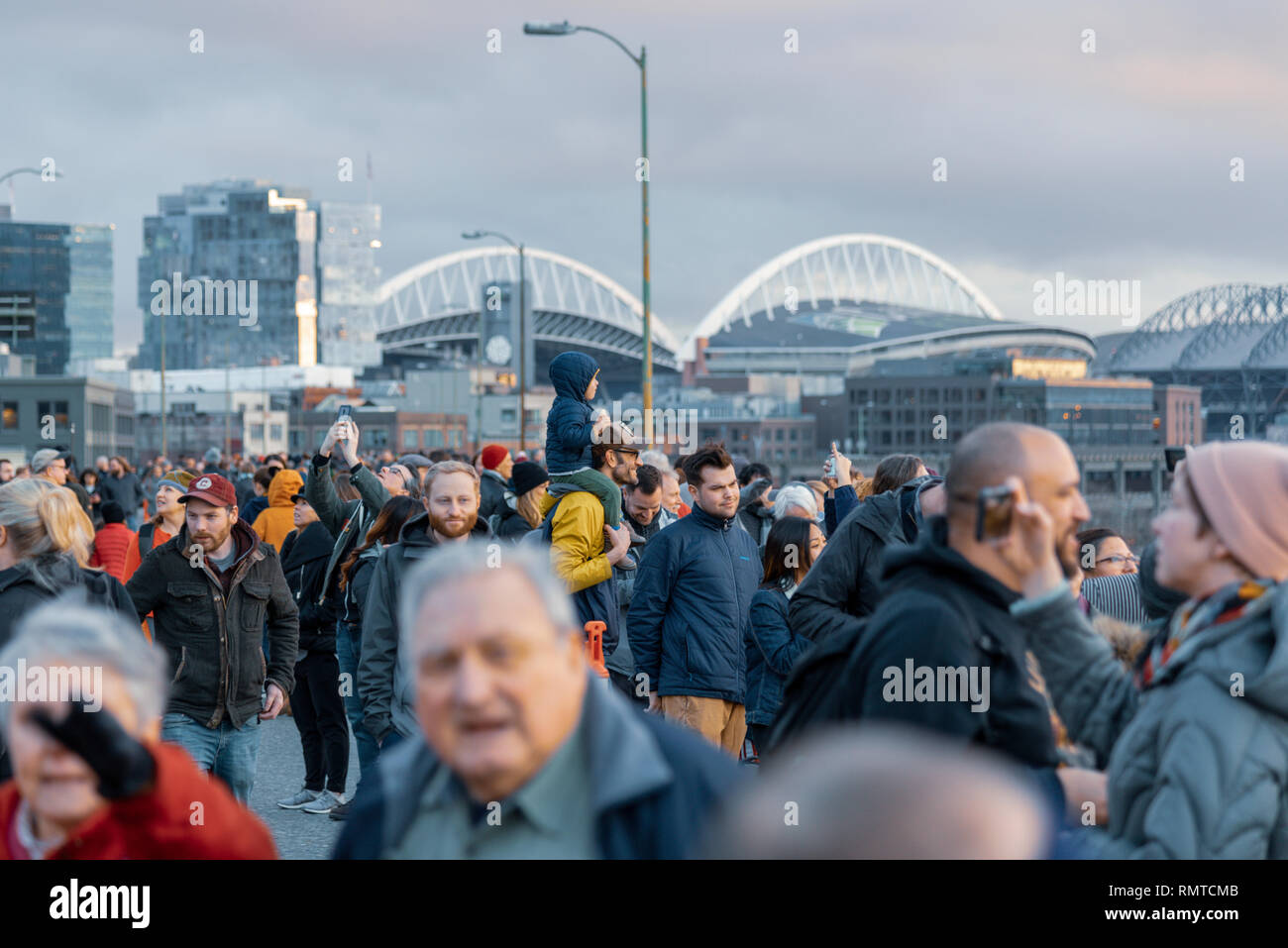 The last night people were allowed to walk the Alaska way viaduct that's being torn down now that the tunnel is complete. Diverse people, families. - Stock Image