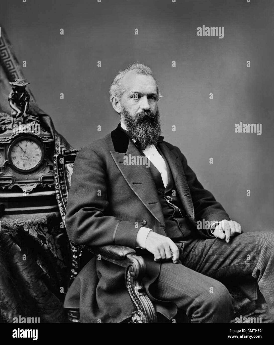 James M. Pendleton (1822-89), Member of U.S. House of Representatives from Rhode Island, Seated Portrait, Brady-Handy Photograph Collection, early 1870's - Stock Image
