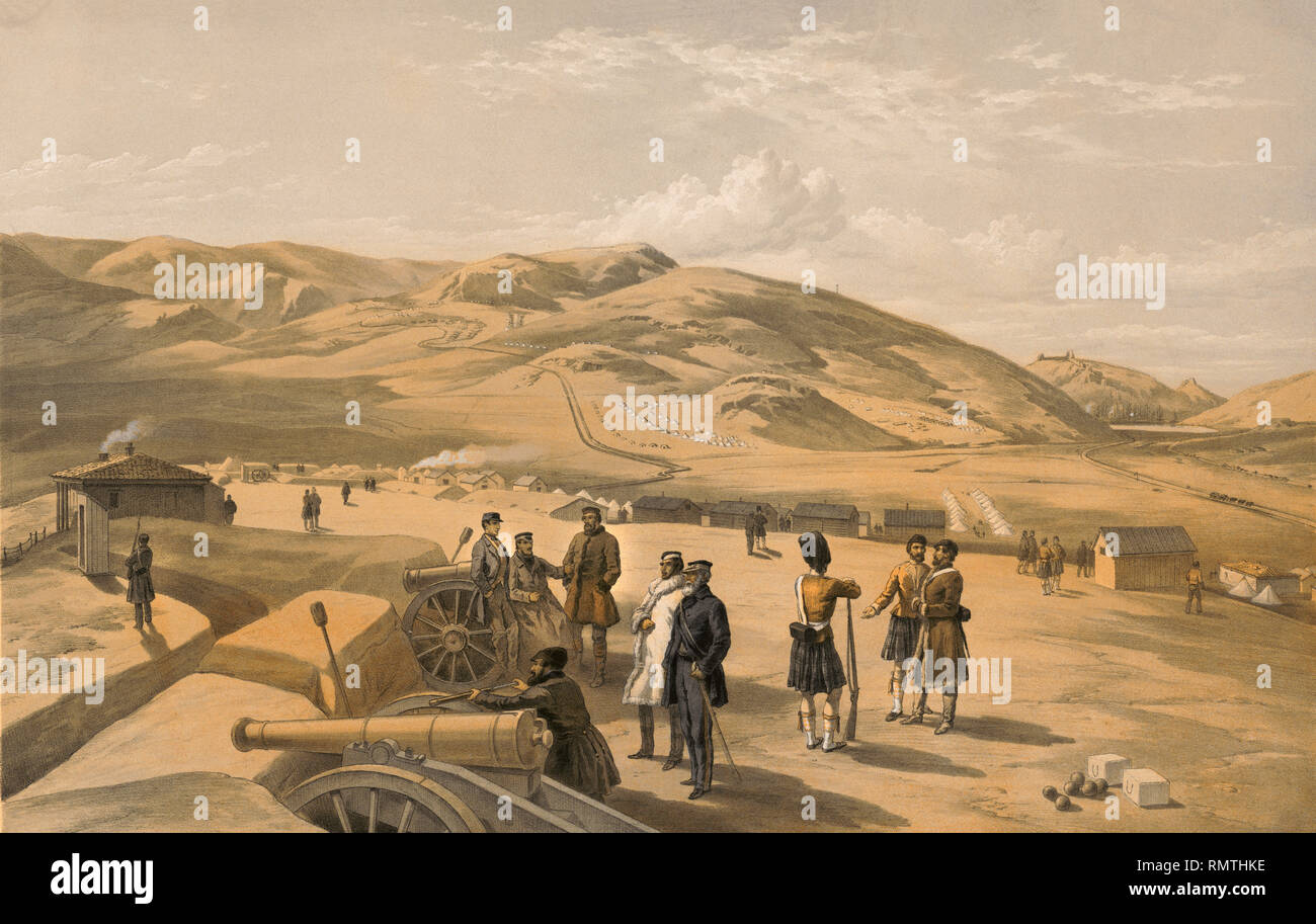 Highland Brigade Camp, Looking South, Artillery Soldiers and Cannons with Campsite in Background, Balaklava harbor in Background on Right, Crimean War, Lithograph by Thomas Pickens after Drawing by William Simpson, Published by Paul & Dominic Colnaghi & Co., 1855 - Stock Image