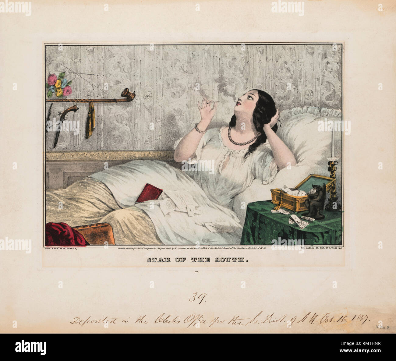 Star of the South, Reclining Portrait of Young Southern Woman Smoking while Reading Letters in Bed, Lithograph, Nathaniel Currier, 1847 - Stock Image