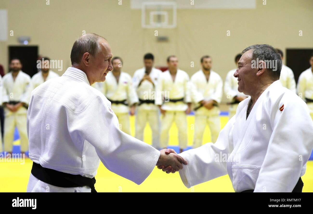 Russian President Vladimir Putin Greets The Head Coach Of The Russian Judo Team Ezio Gamba During Judo Practice At The Yug Sport Training Centre February 14 2019 In Sochi Russia Stock Photo Alamy