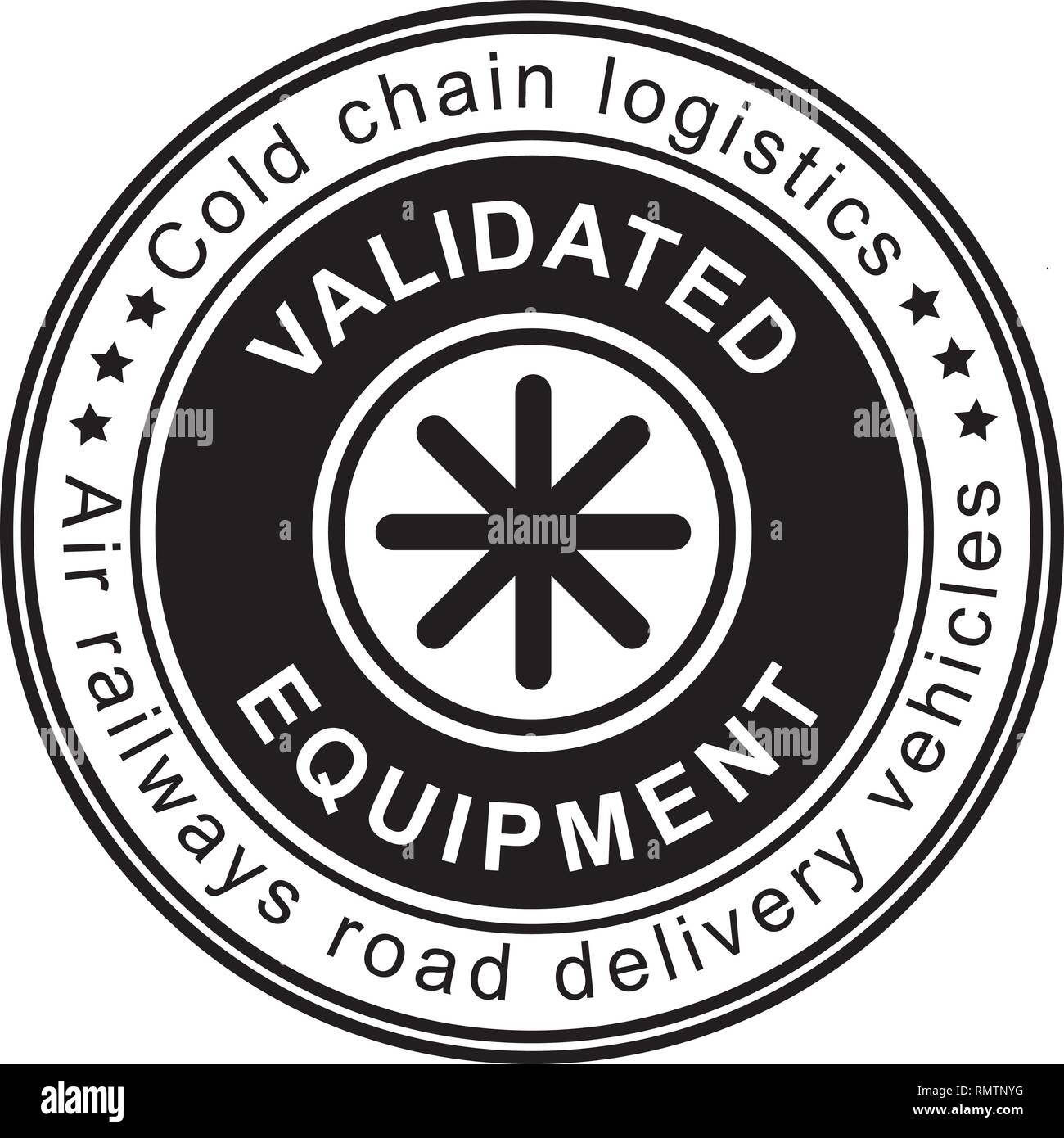 Valideted Equipment stamp on white background. Cold chain logistics. Stock Vector