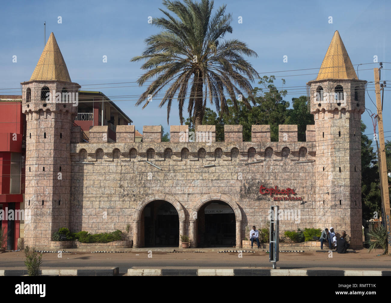 Fake castle hosting topkapi turkish restaurant, Khartoum State, Khartoum, Sudan - Stock Image