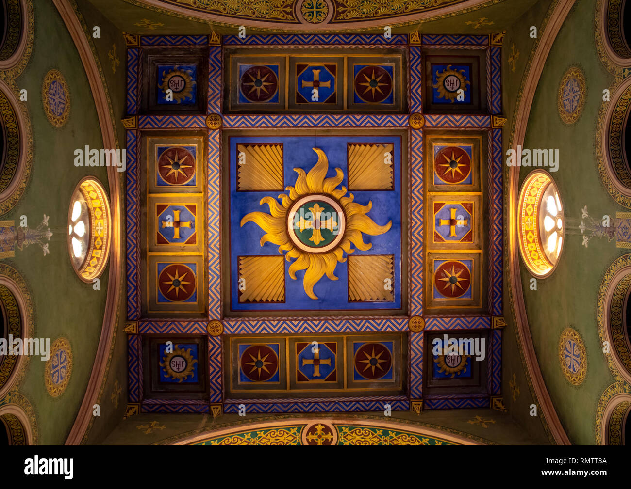 Painted ceiling of St Matthew cathedral built by italian architects, Khartoum State, Khartoum, Sudan - Stock Image