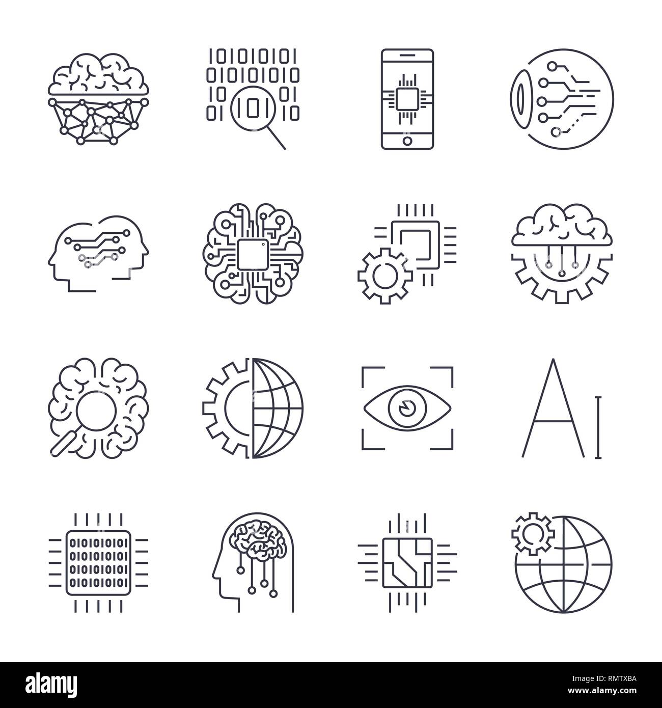Icons set for artificial intelligence AI concept. Artificial intelligence AI line icons. Innovation technology manufacturing and programming. Editable - Stock Image