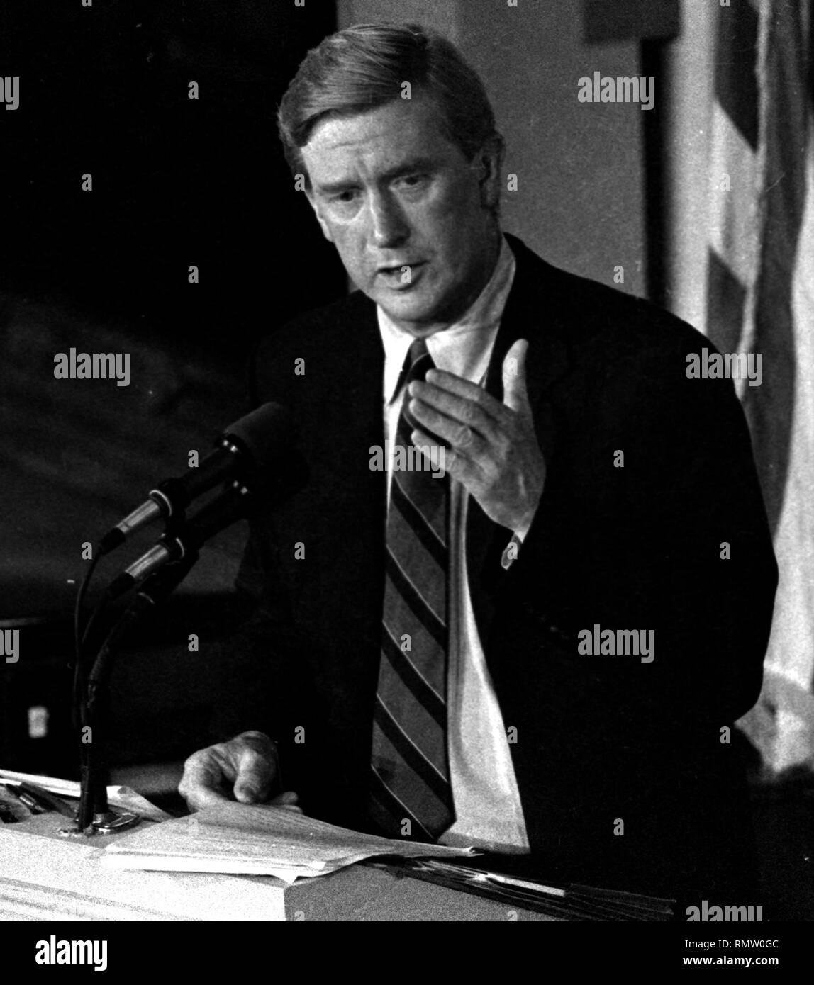 Former Massachusetts Governor Bill Weld announced he will run against President Donald Trump for the Republican Presidential nomination in 2020. Weld in this image was photographed during a Massachusetts gubernatorial debate in Boston Ma USA photo by Bill Belknap 1995 Stock Photo