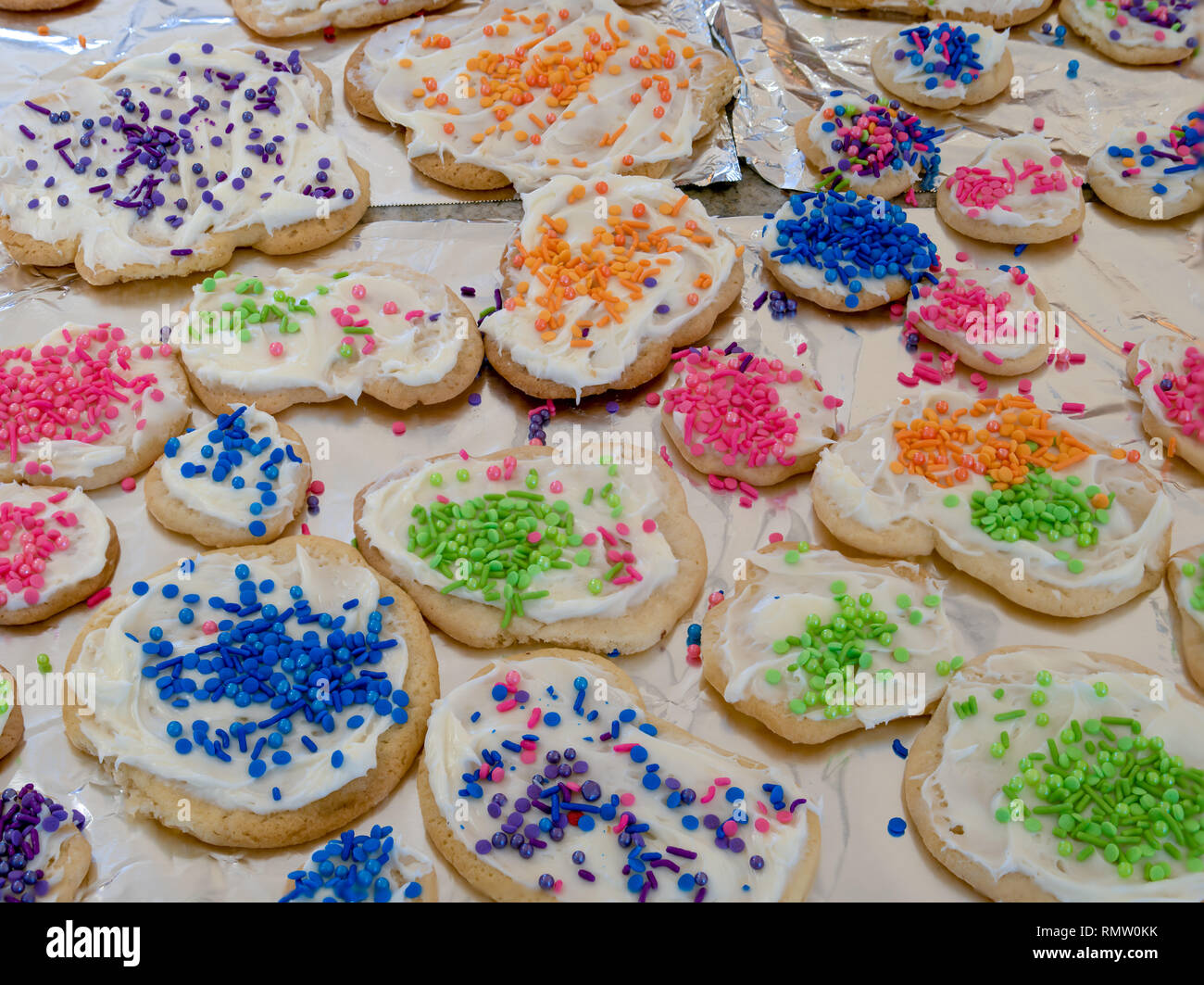 Round Colourful Christmas Cookies Stock Photos Round Colourful