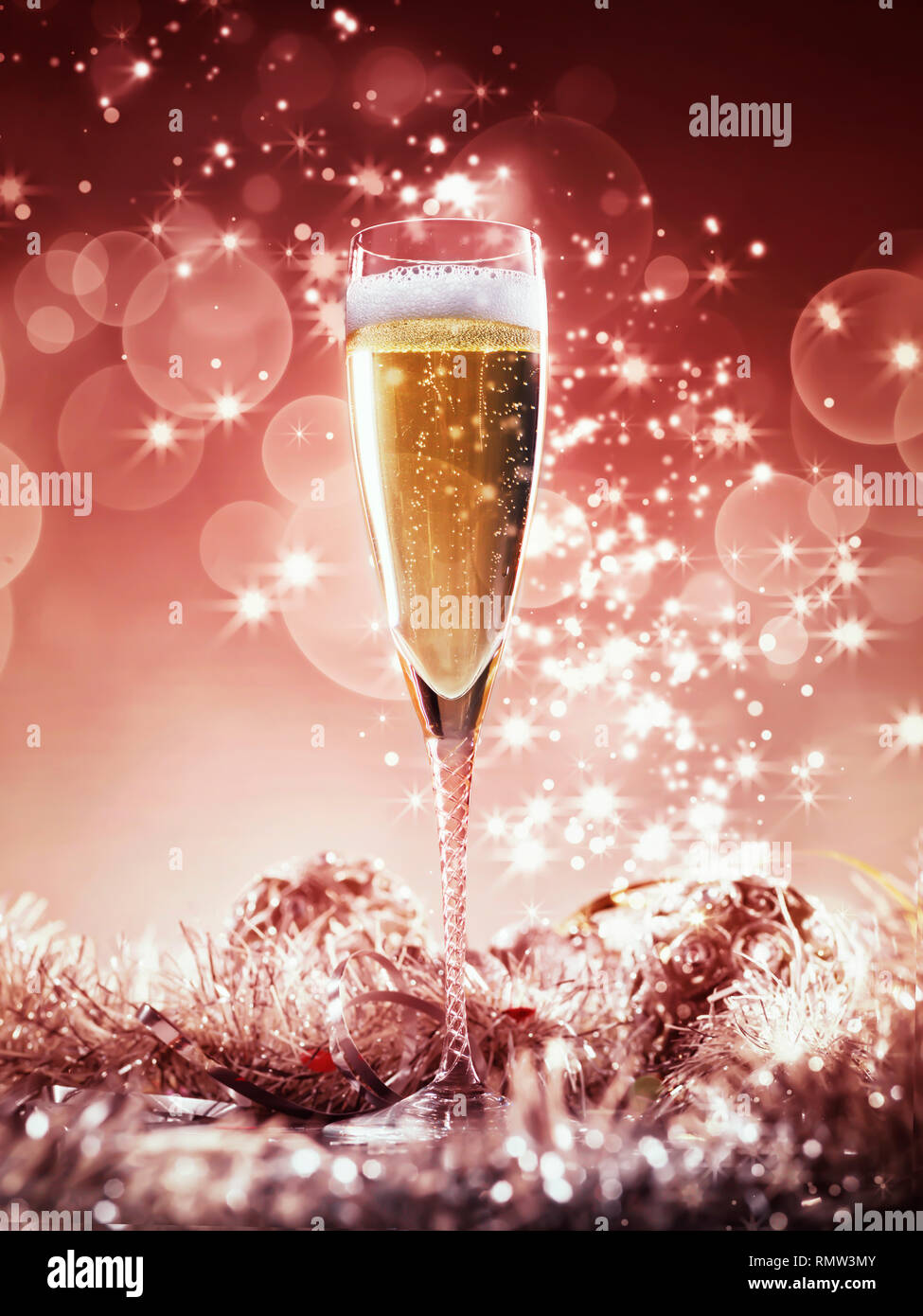 Champagne Glass And Red And Silver Decoration On Silver Shiny