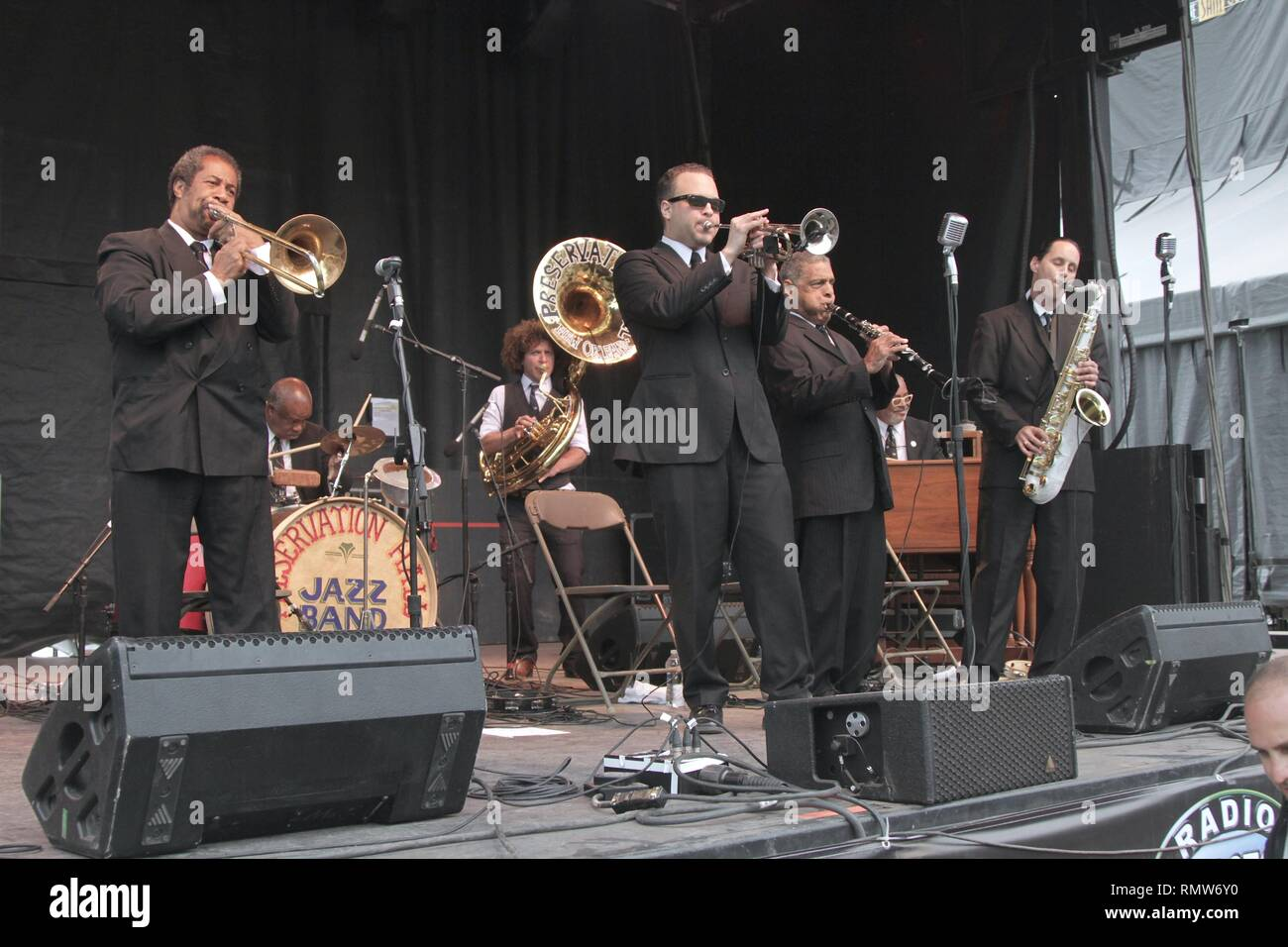Musicians of the Preservation Hall Jazz Band are shown