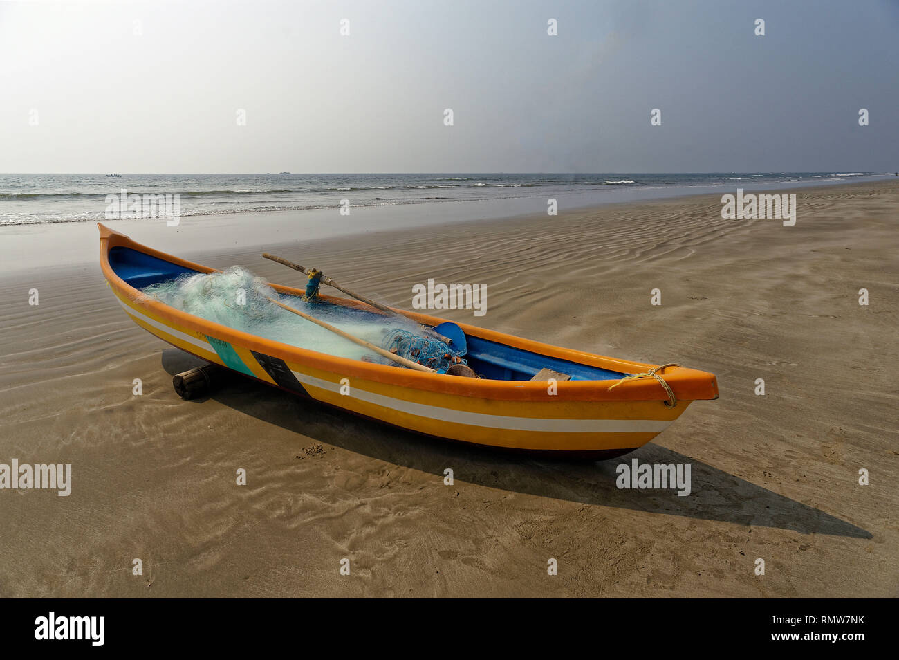 Fishing boat on devbagh beach, sindhudurg, Maharashtra, India, Asia - Stock Image