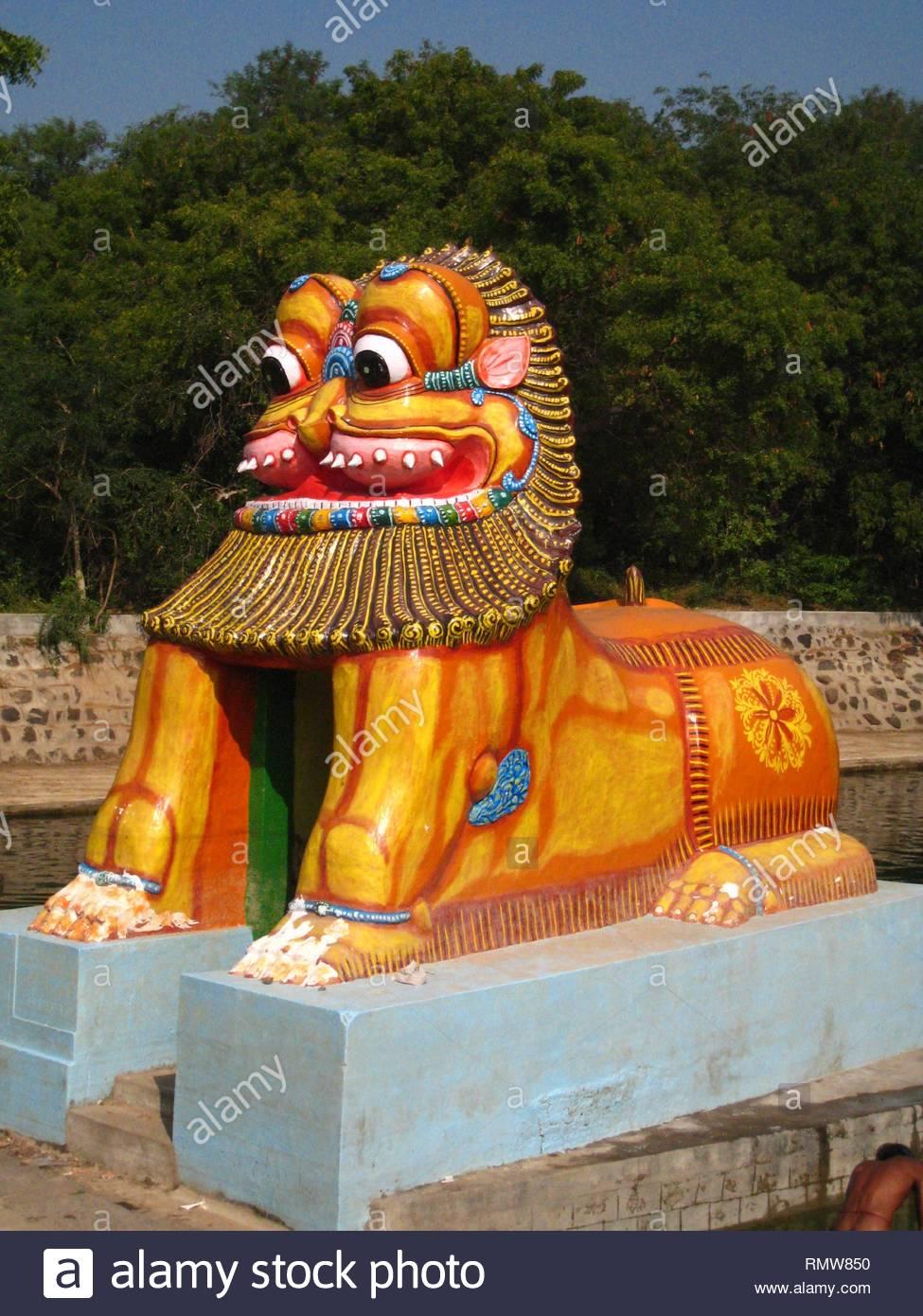 Simha Theertham statue, Tiruvannamalai, Tamil Nadu, India, Asia - Stock Image