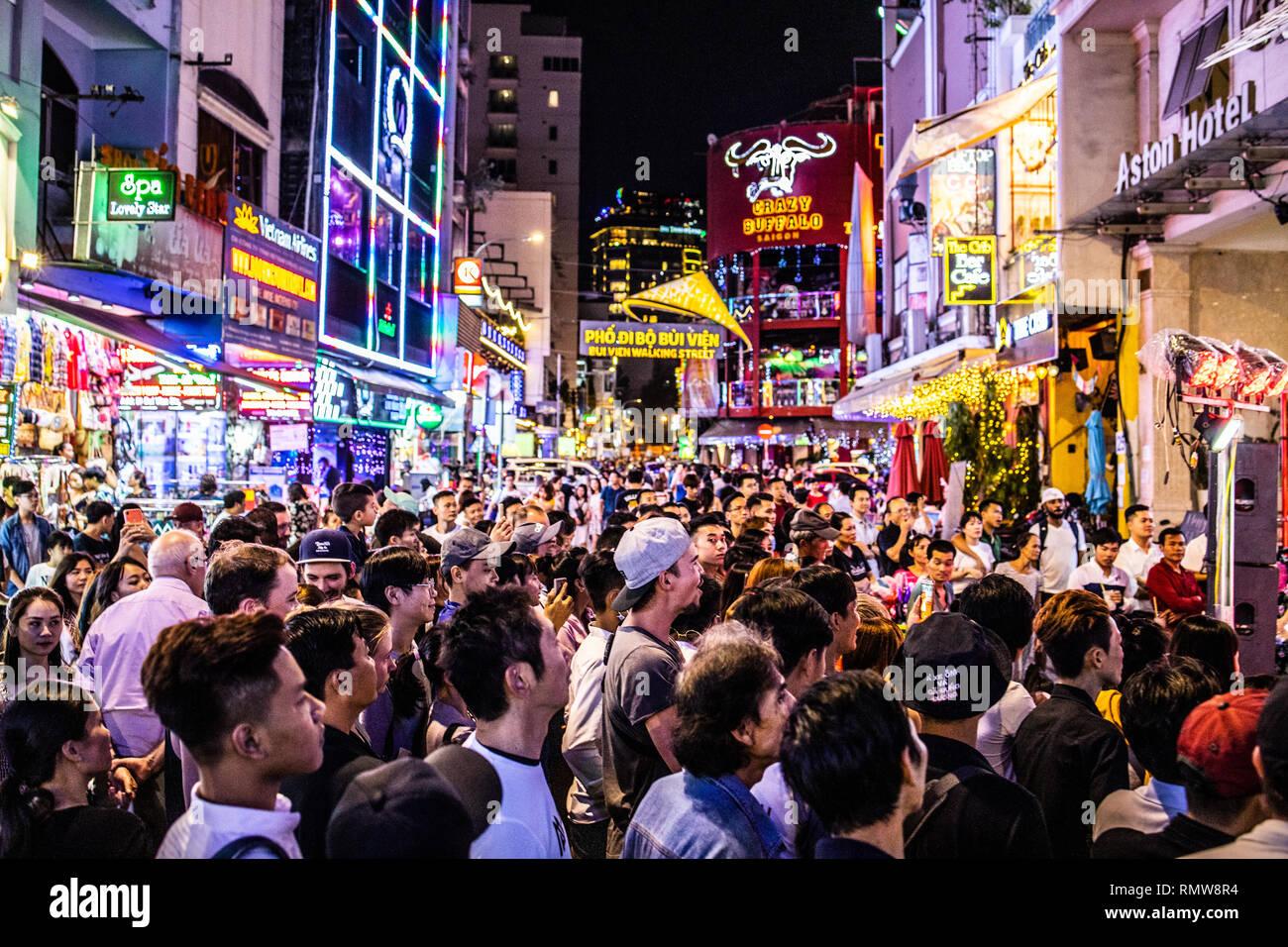 Pham Ngu Lao Area Nightlife Or Pho Tay Ho Chi Minh City Or Saigon Vietnam Stock Photo Alamy
