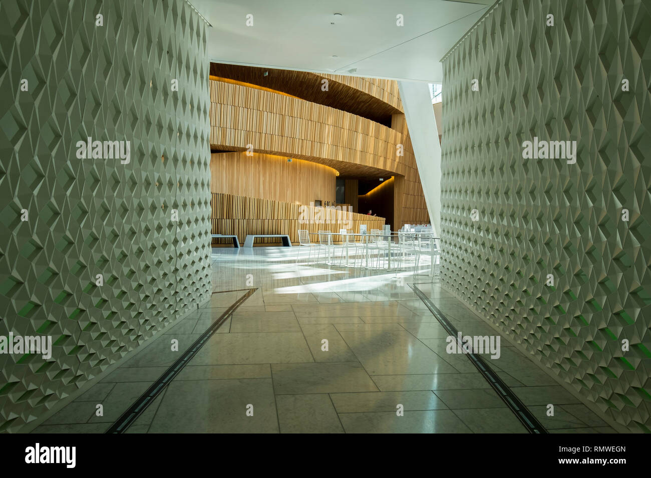 The wooden core inside Oslo's new Opera House in Norway. - Stock Image