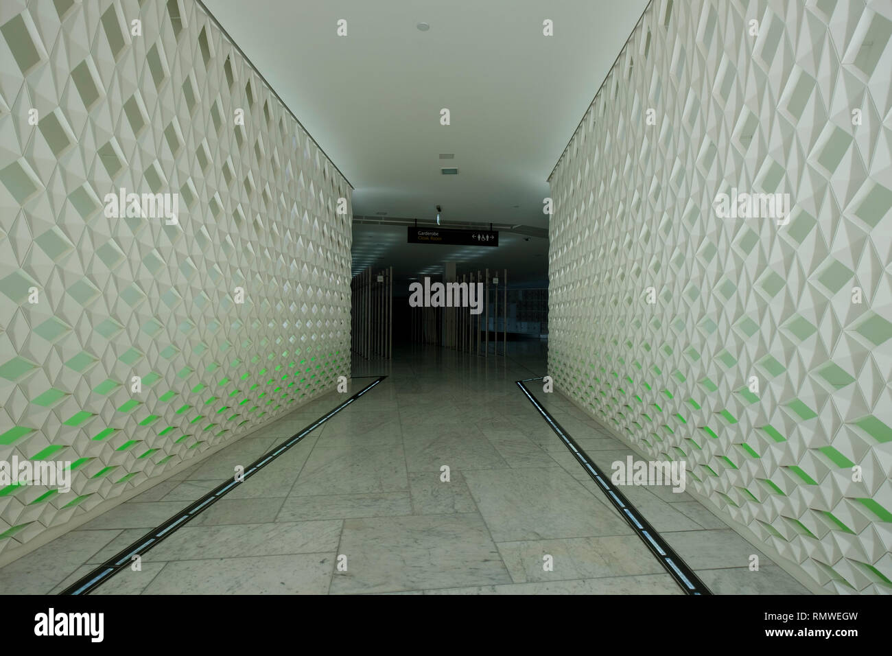 Green lit corridor by Olafur Eliasson at the new Oslo Opera House in Norway. - Stock Image