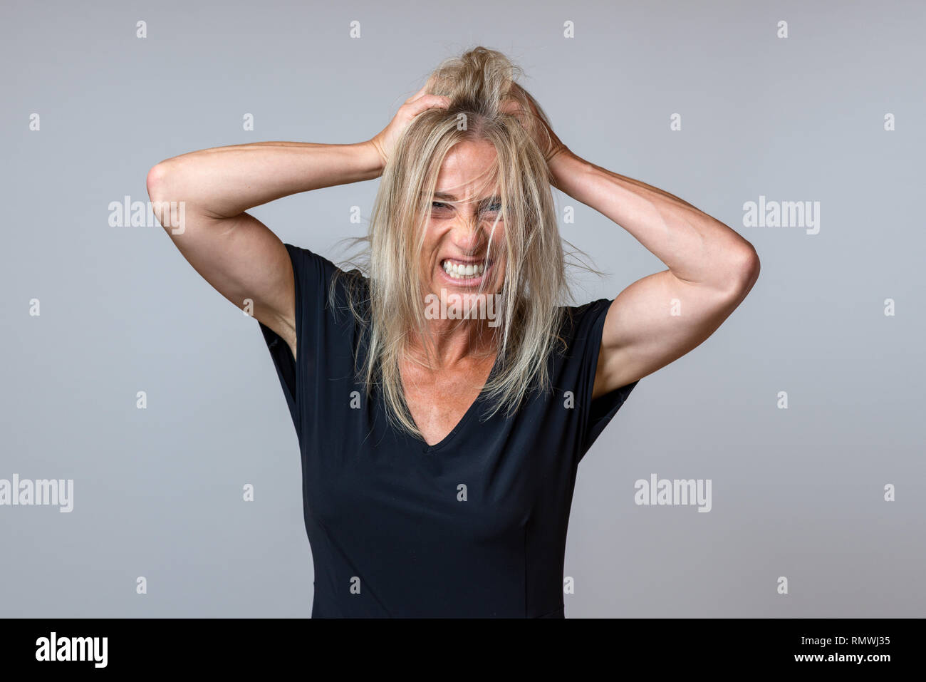 Frustrated woman tearing at her long blond hair, gnashing her teeth and snarling at the camera over grey - Stock Image