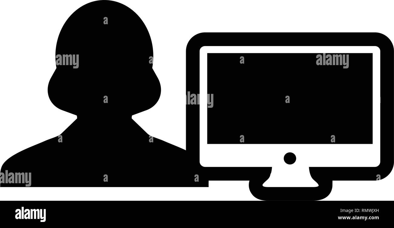 User icon vector male person with computer monitor screen avatar in flat color in Glyph Pictogram Symbol illustration - Stock Image