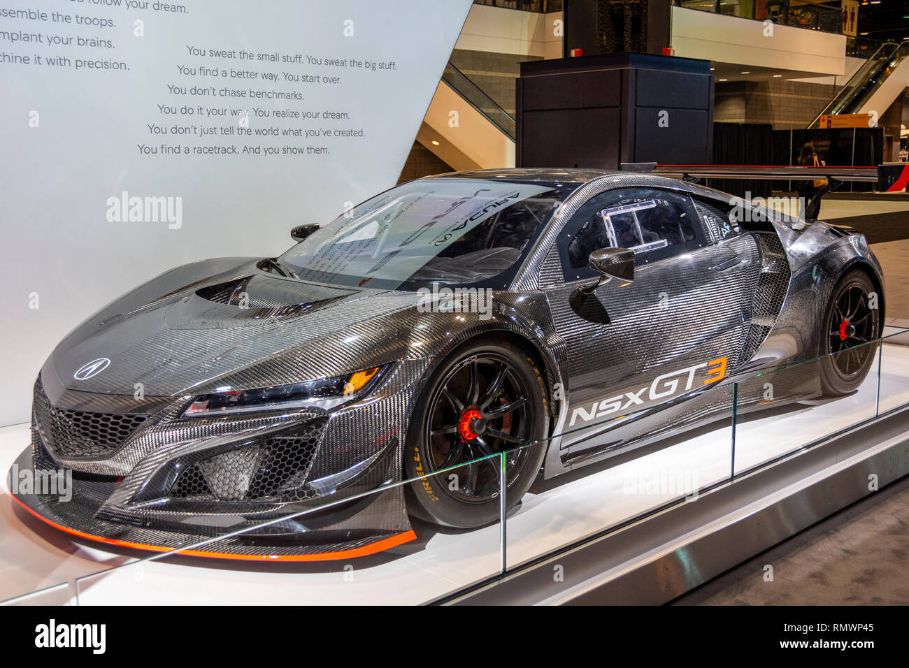 Chicago, IL, USA - February 7, 2019: Shot of the Acura NSX GT3 racing car at the 2019 Chicago Auto Show. - Stock Image