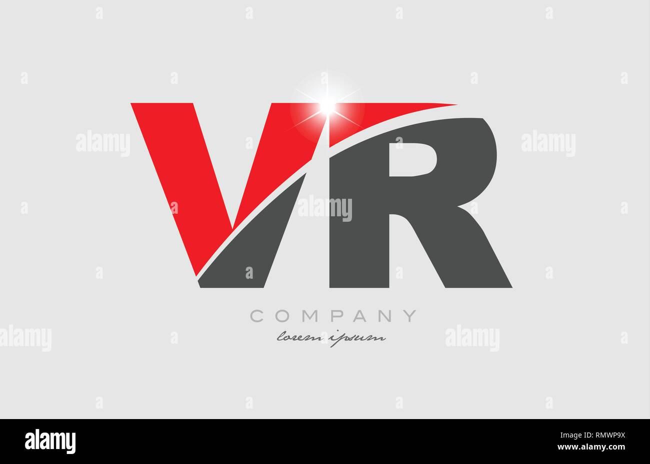 Combination Letter Vr V R In Grey Red Color Alphabet Logo Icon