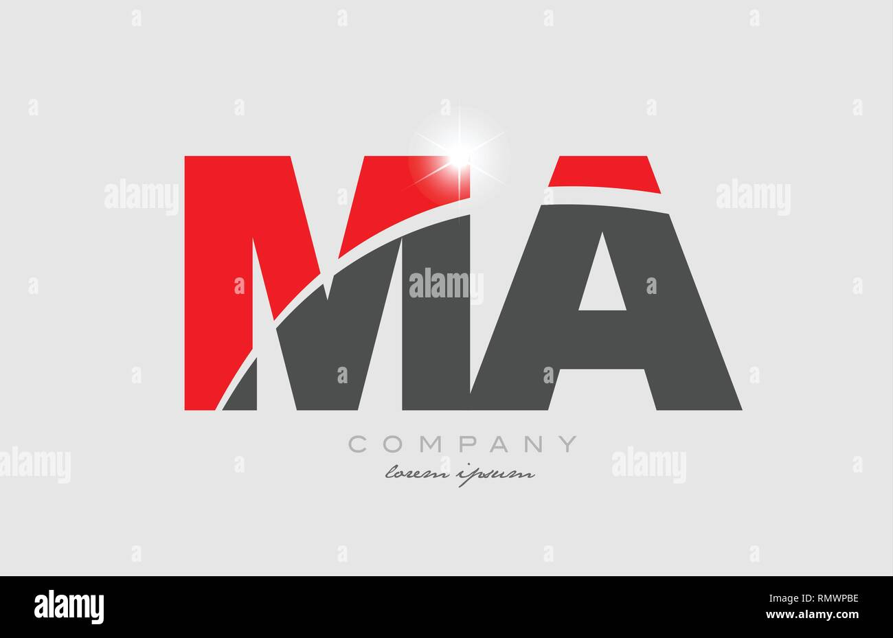 Combination Letter Ma M A In Grey Red Color Alphabet Logo Icon