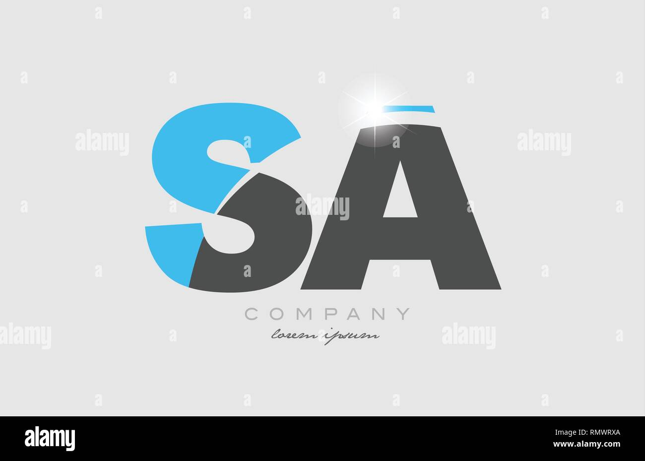 combination letter sa s a in grey blue color alphabet logo icon design suitable for a company or business - Stock Vector