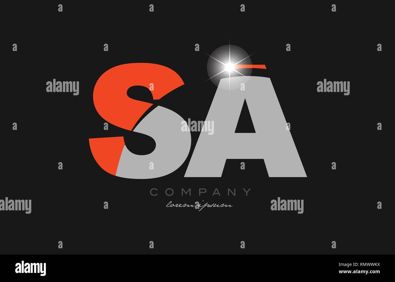 combination letter sa s a in grey orange color alphabet logo icon design suitable for a company or business - Stock Vector