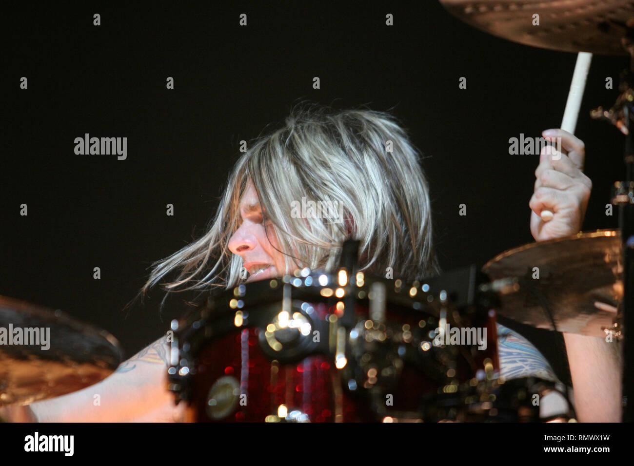 Evanescence Drummer Rocky Gray Is Shown Performing Onstage At The