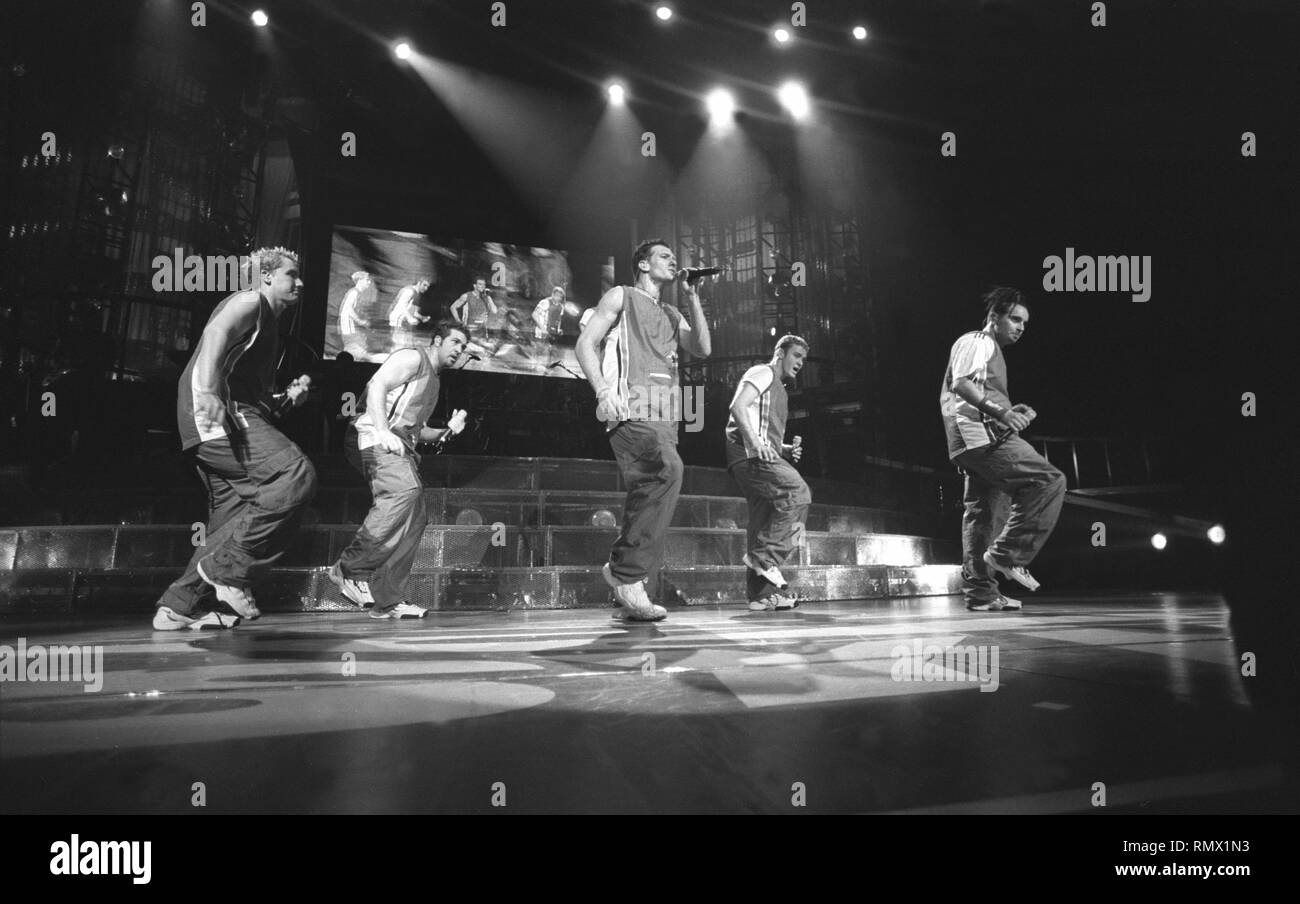 """The pop group N'Sync is shown performing on stage during a """"live"""" concert appearance. Stock Photo"""