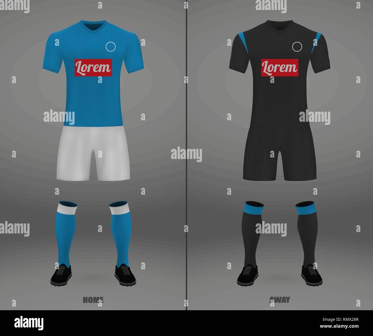Football Kit Napoli 2018 19 Shirt Template For Soccer Jersey Vector Illustration Stock Vector Image Art Alamy