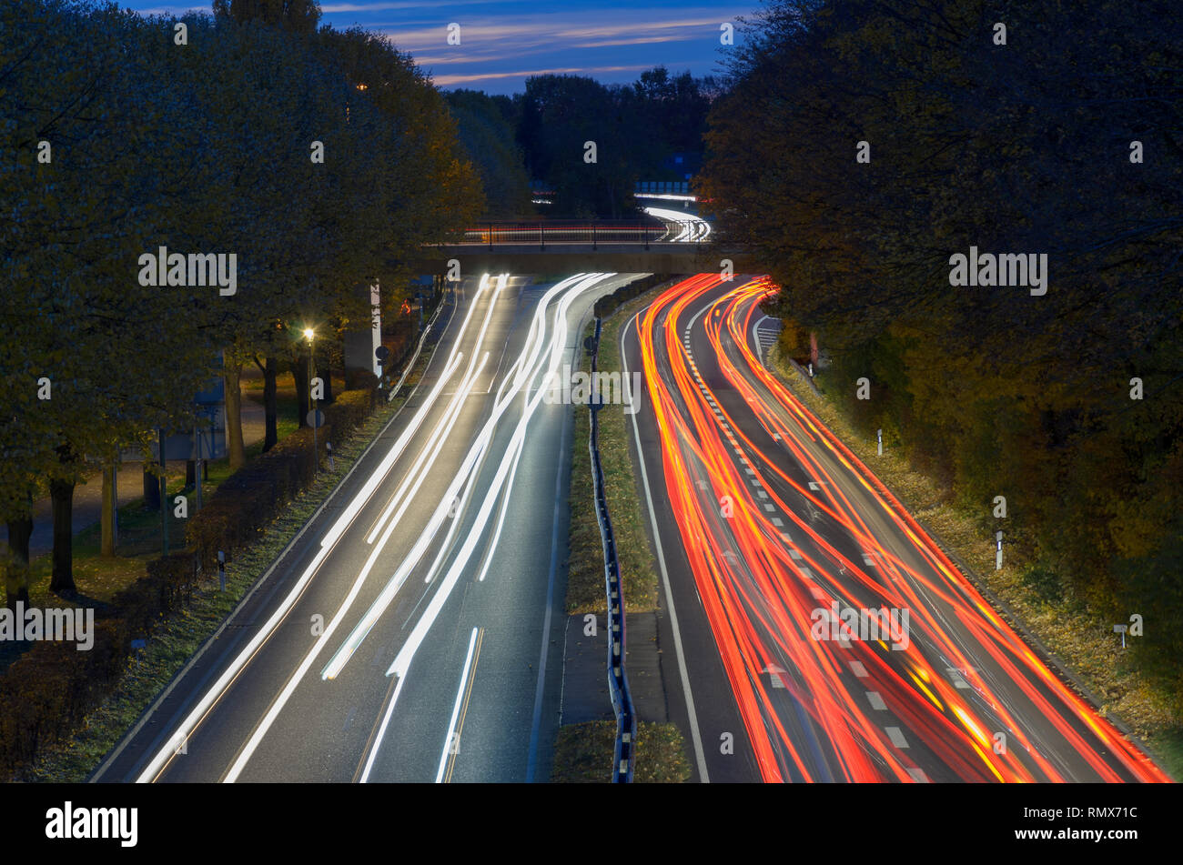 Driving Into Light And Into Sky >> Traffic Driving On A Freeway At Night In A Long Exposure With Light
