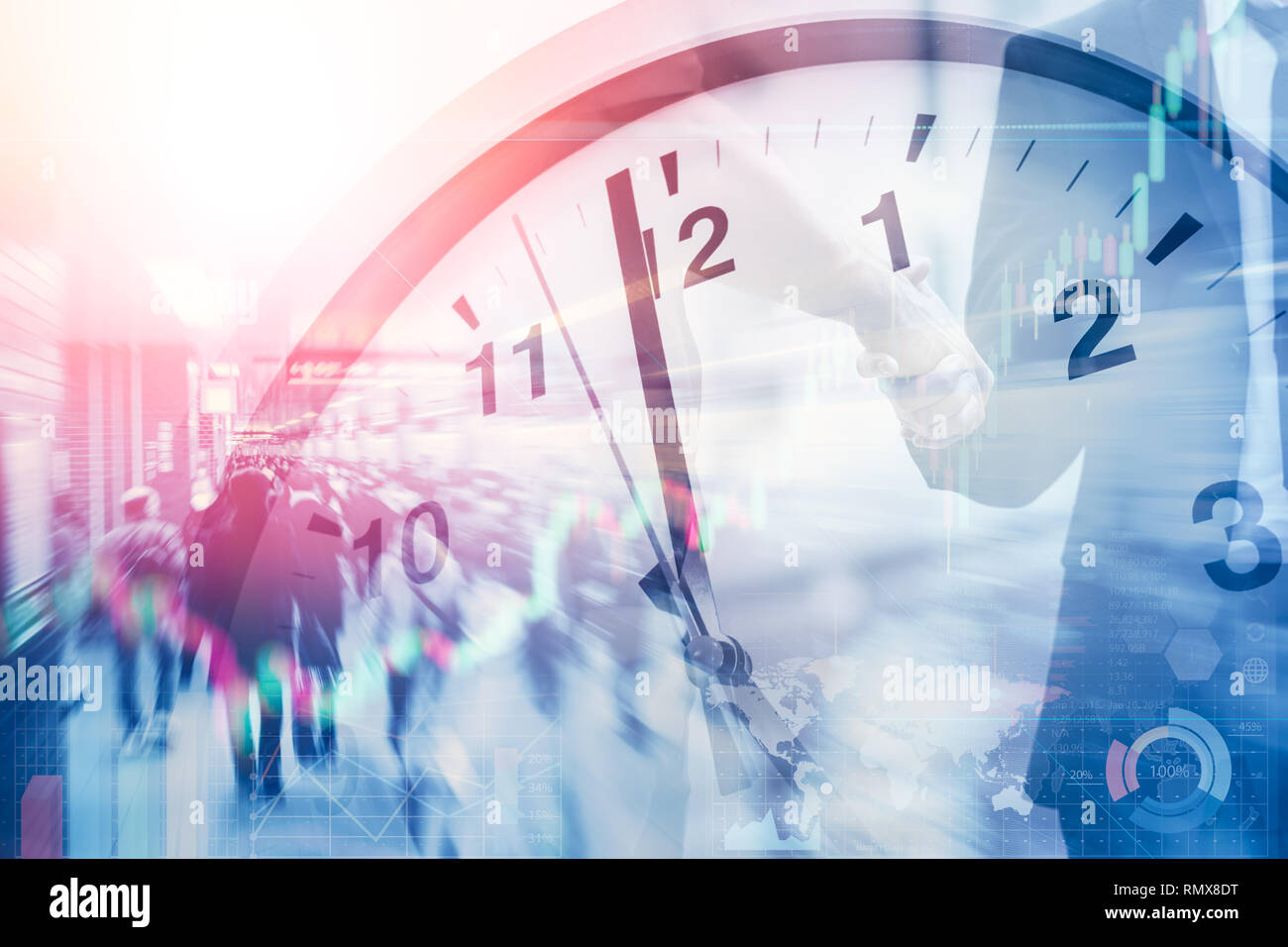 business time and working hours for financial and money office. Stock Photo