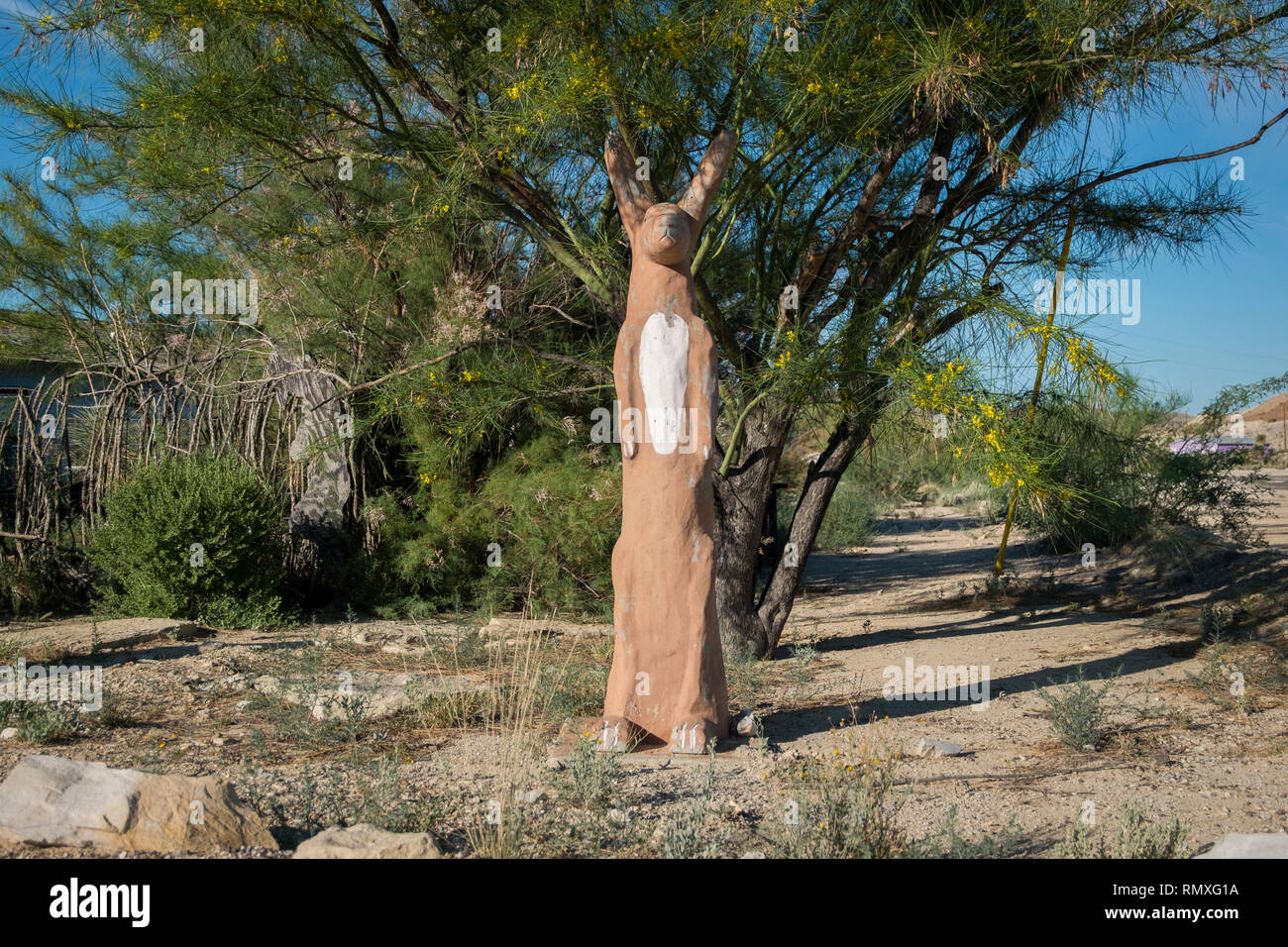 A brown rabbit figure in West Texas. - Stock Image