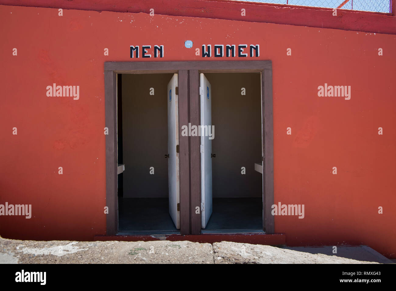 Restrooms in the town of Boquillas del Carmen in Mexico. - Stock Image